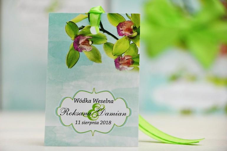 Zawieszka na butelkę, wódka weselna, ślub - Felicja nr 20 - Zielone orchidee - kwiatowe dodatki ślubne