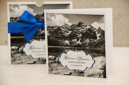 Zaproszenie ślubne, zaproszenia na ślub kwiatowe z kokardą - Felicja nr 21 - Górski krajobraz