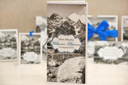 Menu weselne, stół weselny - Felicja nr 21 - Górski krajobraz - kwiatowe dodatki ślubne