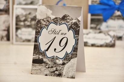 Numery stolików, stół weselny, ślub - Felicja nr 21 -Górski krajobraz - dodatki ślubne