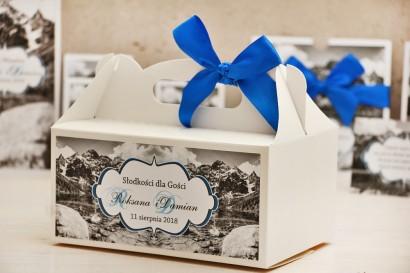 Prostokątne pudełko na ciasto, tort weselny, ślub - Felicja nr 21 - Górski krajobraz - kwiatowe dodatki ślubne