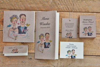 Zaproszenie ślubne z dodatkami - Presto - Rustykalne z klimatycznym, nieformalnym rysunkiem Państwa Młodych, ekologiczne