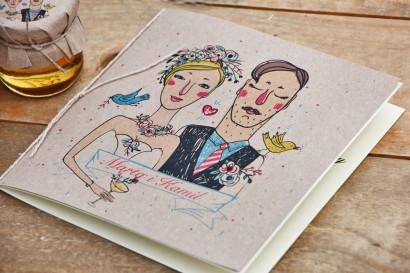 Zaproszenie ślubne ekologiczne ze sznurkiem - Presto - Rustykalne z oryginalnym rysunkiem Pary Młodej
