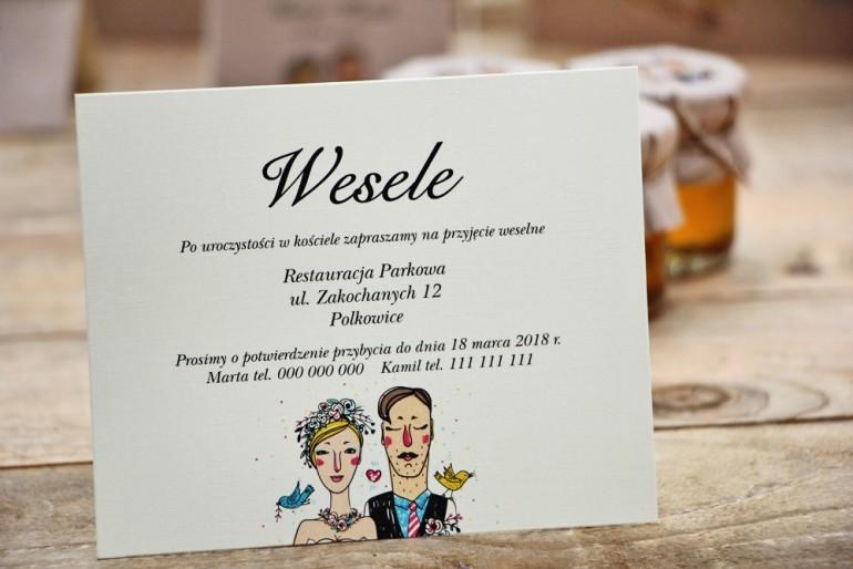Bilecik do zaproszenia 120 x 98 mm prezenty ślubne wesele - Presto - Rysunek Pary Młodej, rustykalne