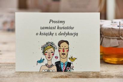 Bilecik do zaproszenia 105 x 74 mm prezenty ślubne wesele - Presto - Rustykalne, rysunek Państwa Młodych, w wesołym charakterze