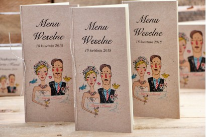 Menu weselne, stół weselny - Presto- Rustykalne ze sznurkiem, rysunek Pary Młodej