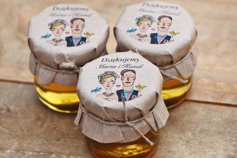 Słoiczki z miodem, podziękowania dla Gości weselnych, dodatki ślubne - Presto - Ekologiczne, rustykalne z Parą Młodą
