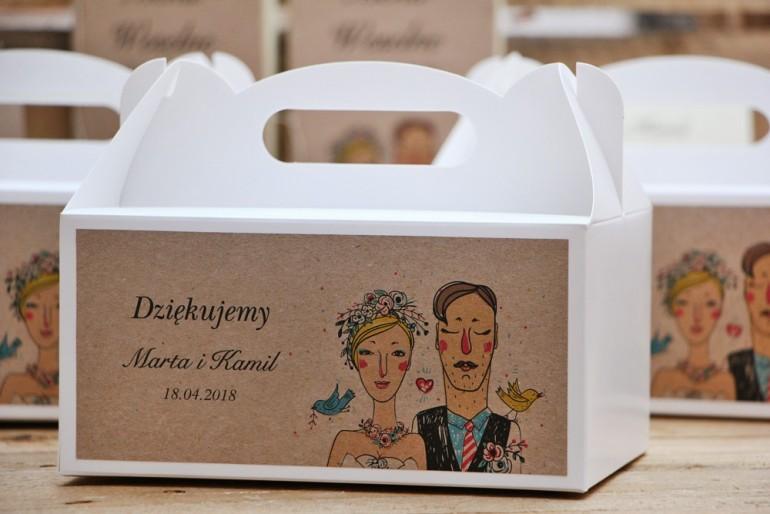 Prostokątne pudełko na ciasto, tort weselny, ślub - Presto - rustykalne, ekologiczne z rysunkiem Pary Młodej