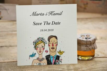 Bilecik Save The Date do zaproszenia - Presto - Z stylu rustykalnym z rysunkiem