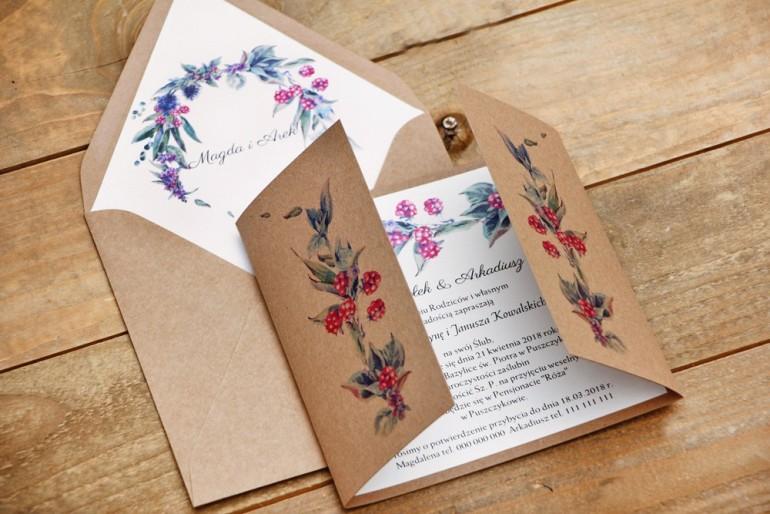 Zaproszenie ślubne ekologiczne z kopertą - Owoce Leśne nr 1 - Jeżyny