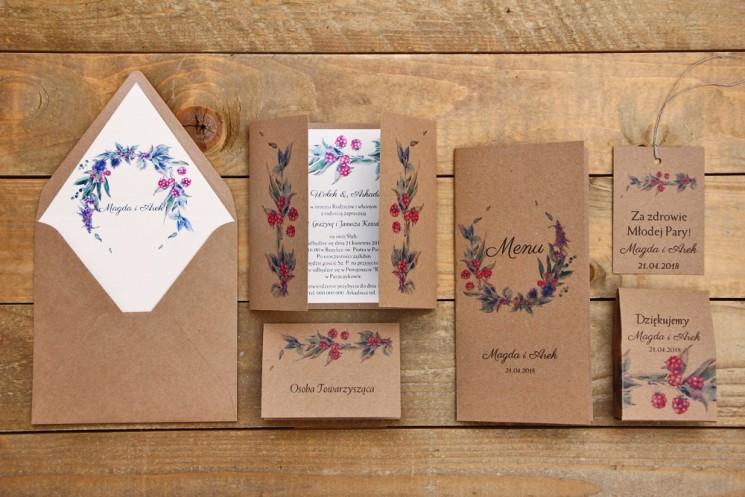 Zaproszenie ślubne z dodatkami - Owoce Leśne nr 1 - Czerwone jeżyny - Ekologiczne z kopertą