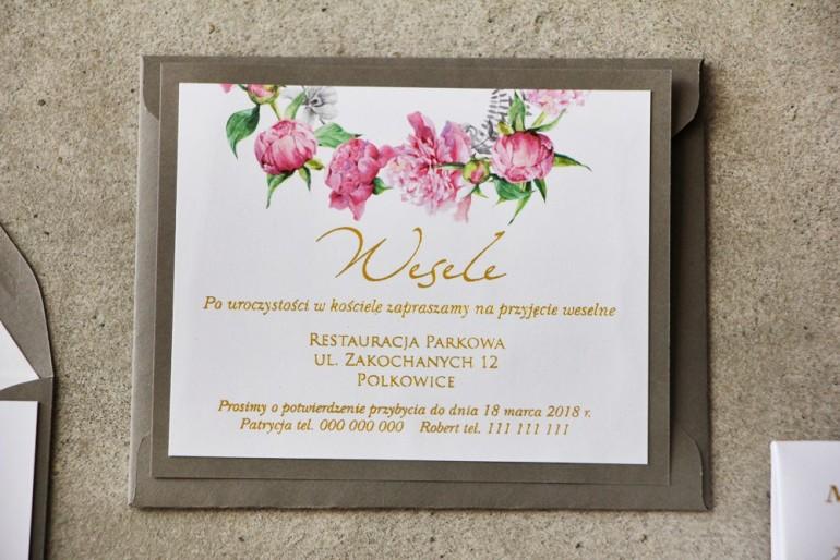 Bilecik dwuwarstwowy prezenty ślubne wesele - Cykade nr 10 ze złoceniem - Delikatne różowe piwonie