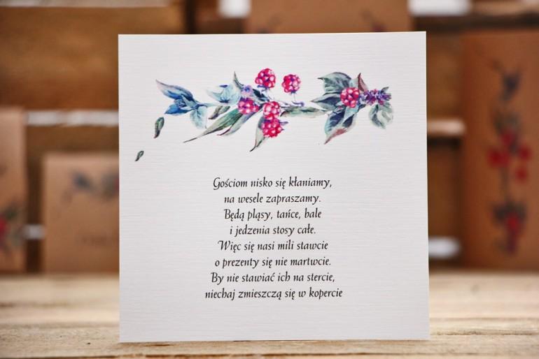 Bilecik do zaproszeń ślubnych. Czerwone jeżyny z delikatnymi niebieskimi gałązkami