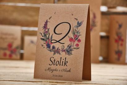 Numery stolików, stół weselny, ślub - Owoce Leśne nr 1 - Czerwone jeżyny - dodatki ślubne, ekologiczne