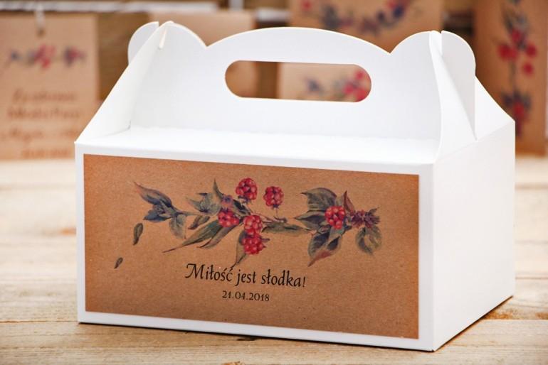 Prostokątne pudełko na ciasto, tort weselny, ślub - Owoce Leśne nr 1 - Jeżyny - Ekologiczne dodatki ślubne