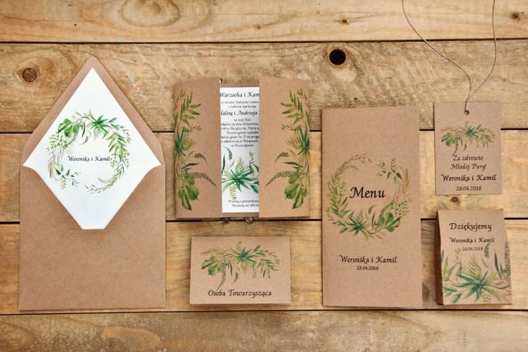 Zaproszenie ślubne z dodatkami - Owoce Leśne nr 2 - Polna trawa greenery - Ekologiczne z kopertą