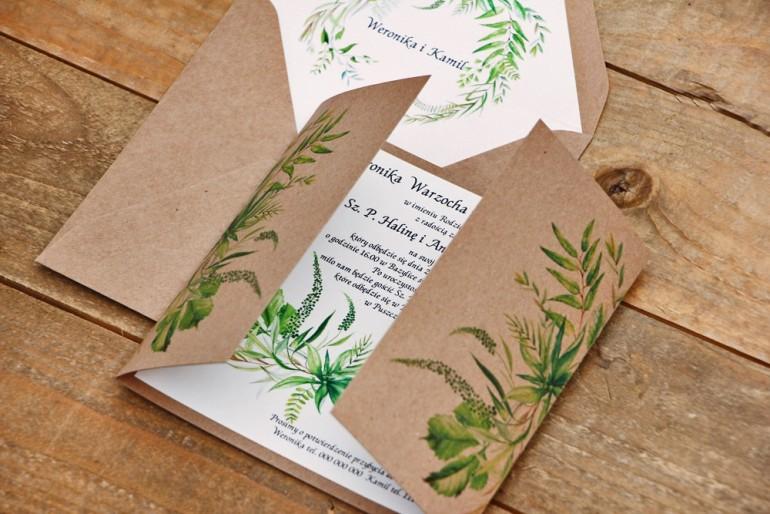 Zaproszenie ślubne ekologiczne z kopertą - Owoce Leśne nr 2 - Zielone, polne trawy, greenery
