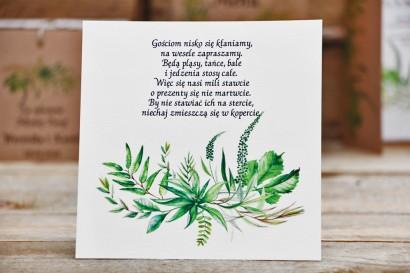 Bilecik do zaproszenia, prezenty ślubne, wesele - Owoce Leśne nr 2 - Polna trawa, greenery