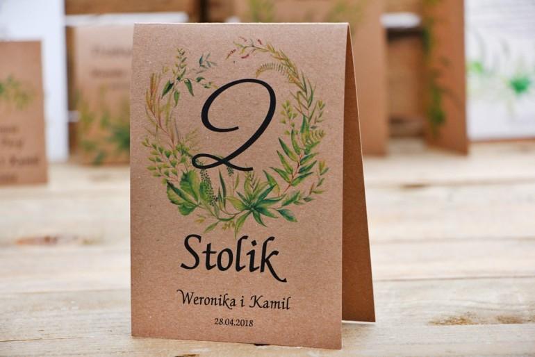 Numery stolików, stół weselny, ślub - Owoce Leśne nr 2 - Polna trawa, greenery - dodatki ślubne