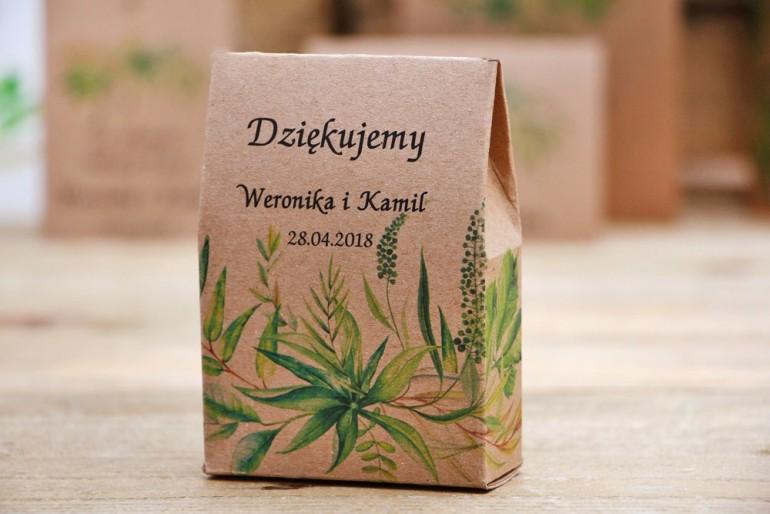 Pudełeczko stojące na cukierki, podziękowania dla Gości weselnych - Owoce Leśne nr 2 - Polna trawa - ekologiczne dodatki ślubne