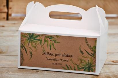 Prostokątne pudełko na ciasto, tort weselny, ślub - Owoce Leśne nr 2 - Polna trawa - Ekologiczne dodatki ślubne