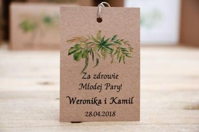 Zawieszka na butelkę, wódka weselna, ślub - Owoce Leśne nr 2 - Polna trawa - ekologiczne dodatki ślubne