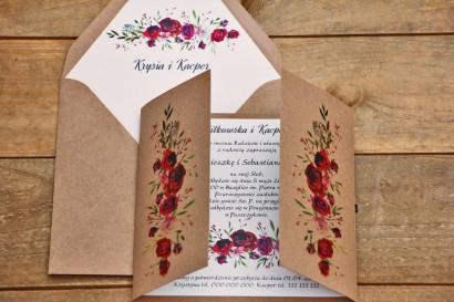 Zaproszenie ślubne ekologiczne z kopertą - Owoce Leśne nr 3 - Bordowe róże