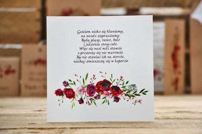 Bilecik do zaproszenia, prezenty ślubne, wesele - Owoce Leśne nr 3 - Bordowe róże