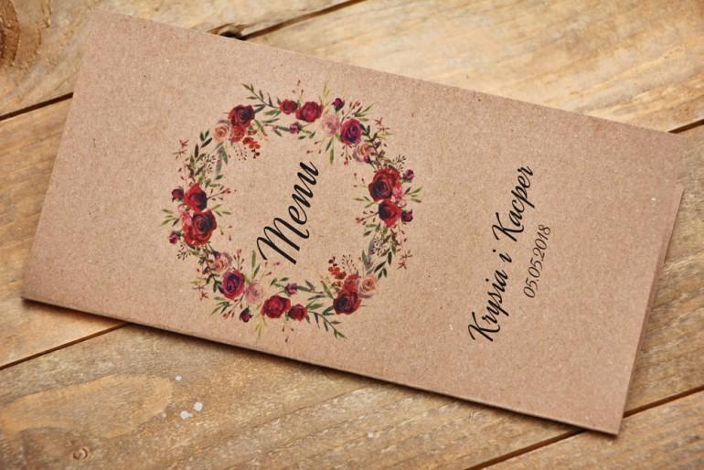 Menu weselne, stół weselny - Owoce Leśne nr 3 - Bordowe róże - ekologiczne dodatki ślubne