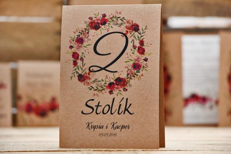 Numery stolików, stół weselny, ślub - Owoce Leśne nr 3 - Bordowe róże - ekologiczne dodatki ślubne