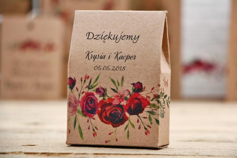 Pudełeczko stojące na cukierki, podziękowania dla Gości weselnych - Owoce Leśne nr 3 - Bordowe róże - ekologiczne dodatki ślubne