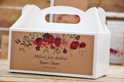 Prostokątne pudełko na ciasto, tort weselny, ślub - Owoce Leśne nr 3 - Bordowe róże - Ekologiczne dodatki ślubne