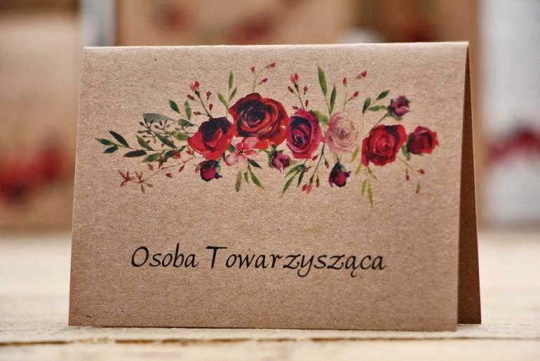 Winietki na stół weselny, ślub - Owoce Leśne nr 3 - Bordowe róże - ekologiczne dodatki ślubne