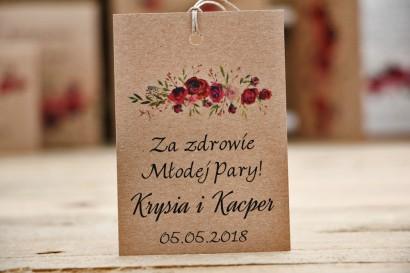 Zawieszka na butelkę, wódka weselna, ślub - Owoce Leśne nr 3 - Bordowe róże - ekologiczne dodatki ślubne