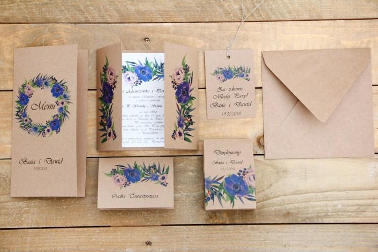 Zaproszenie ślubne z dodatkami - Owoce Leśne nr 4 - Chabrowe kwiaty - Ekologiczne z kopertą