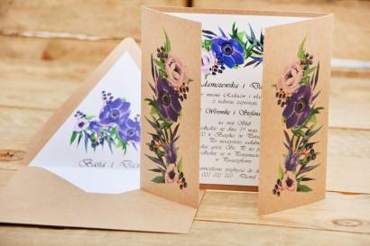 Zaproszenie ślubne ekologiczne z kopertą - Owoce Leśne nr 4 - Chabrowe kwiaty
