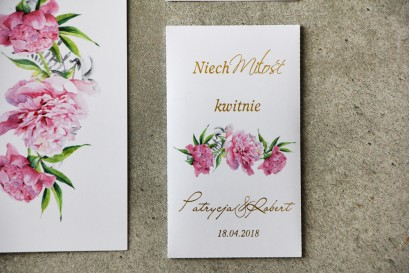 Podziękowania dla Gości weselnych - Nasiona Niezapominajki - Cykade nr 10 ze złoceniem - Delikatne różowe piwonie.
