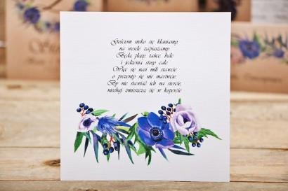 Bilecik do zaproszenia ślubnego, prezenty ślubne, wesele - Owoce Leśne nr 4 - Chabrowe kwiaty