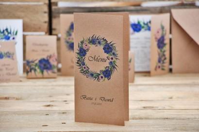 Menu weselne, stół weselny - Owoce Leśne nr 4 - Chabrowe kwiaty - ekologiczne dodatki ślubne