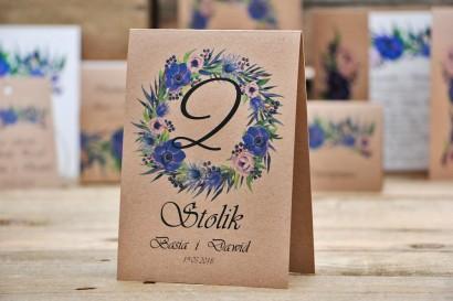 Numery stolików, stół weselny, ślub - Owoce Leśne nr 4 - Chabrowe kwiaty - ekologiczne dodatki ślubne