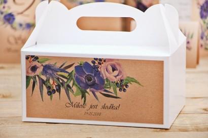 Prostokątne pudełko na ciasto, tort weselny, ślub - Owoce Leśne nr 4 - Chabrowe kwiaty - Ekologiczne dodatki ślubne