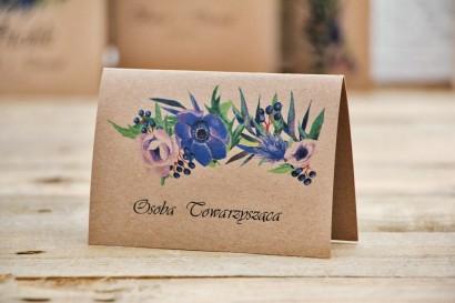 Winietki na stół weselny, ślub - Owoce Leśne nr 4 - Chabrowe kwiaty - ekologiczne dodatki ślubne