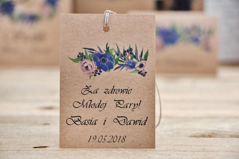 Zawieszka na butelkę, wódka weselna, ślub - Owoce Leśne nr 4 - Chabrowe kwiaty - ekologiczne dodatki ślubne