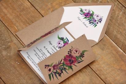 Zaproszenie ślubne ekologiczne z kopertą - Owoce Leśne nr 5 - Fioletowe kwiaty