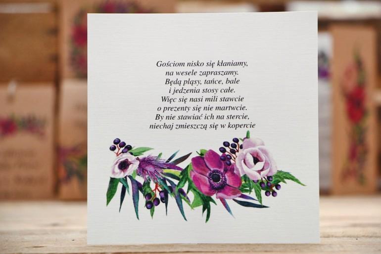 Bilecik do zaproszenia ślubnego, prezenty ślubne, wesele - Owoce Leśne nr 5 - Fioletowe kwiaty