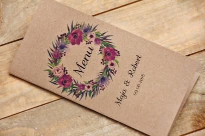 Menu weselne, stół weselny - Owoce Leśne nr 5 - Fioletowe kwiaty - ekologiczne dodatki ślubne