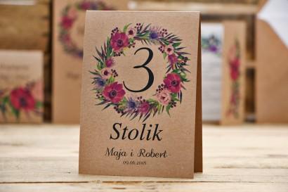 Numery stolików, stół weselny, ślub - Owoce Leśne nr 5 - Fioletowe kwiaty - ekologiczne dodatki ślubne