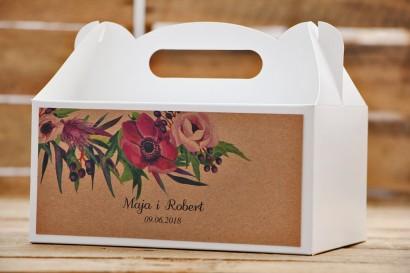 Prostokątne pudełko na ciasto, tort weselny, ślub - Owoce Leśne nr 5 - Fioletowe kwiaty - Ekologiczne dodatki ślubne