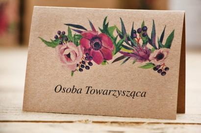 Winietki na stół weselny, ślub - Owoce Leśne nr 5 - Fioletowe kwiaty - ekologiczne dodatki ślubne