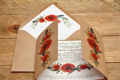 Zaproszenie ślubne ekologiczne z kopertą - Owoce Leśne nr 6 - Polne maki